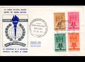 Vietnam 1963, Ausgabe 15 J. Erkärung d. Menschenrechte kpl. auf FDC