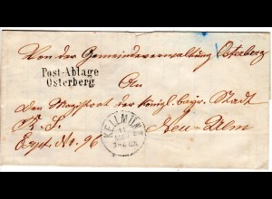 Bayern 1882, L2 POST-ABLAGE OSTERBERG klar auf´Gemeindebrief n. Neu-Ulm