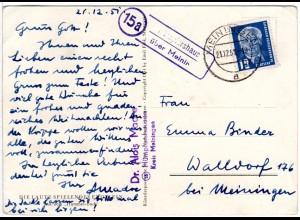 DDR 1951, Landpost Stpl. 15a HÜMPFERSHAUSEN über Meiningen auf Karte m. 12 Pfg.