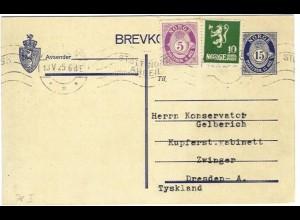 Norwegen 1925, Ganzsache m. Zusatz v. Skien n. Deutschland. 30 öre-Porto! #S144