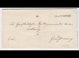Württemberg, L1 Crailsheim klar auf schönem Franko Brief n. Bayern. #999