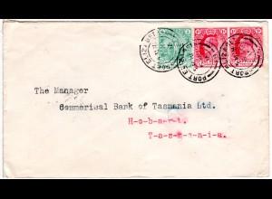 Kap d. Guten Hoffnung 1905, 1/2+Paar 1d auf Brief v. Port Elizabeth n. Tasmanien