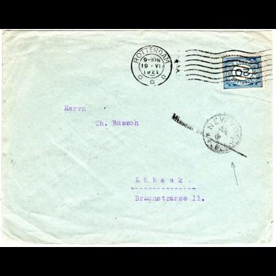 NL 1922, 20 C. auf Brief v. Rotterdam n. Lübeck m. USA Missent to ...NEW YORK