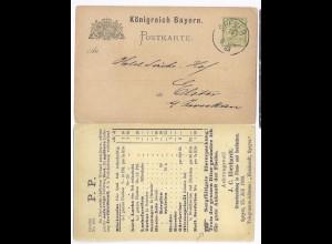 Bayern 1883, Speyer, Drucksache Ganzsache m. Zudruck Fisch Eberhardt. #1625