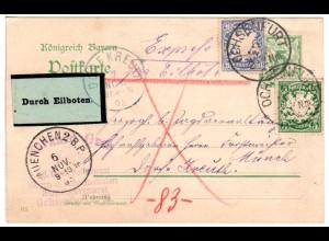 Bayern 1905, 5+20 Pf. auf 5 Pf. Ganzsache per Express v. Ochsenfurt