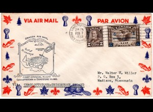 Canada 1933, CHARLOTTETOWN-GRINDSTONE ISLAND 1st.-Flight cover with 2+6/5 C.