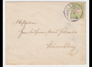 Bayern 1888, EF 3 Pf. (A-Zähnung,Mi.54A, 45.-€) auf Drucksache v Würzburg. #2037