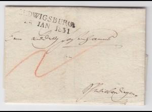 Württemberg 1831, L2 Ludwigsburg auf Porto Brief n. Schwieberdingen. #2040