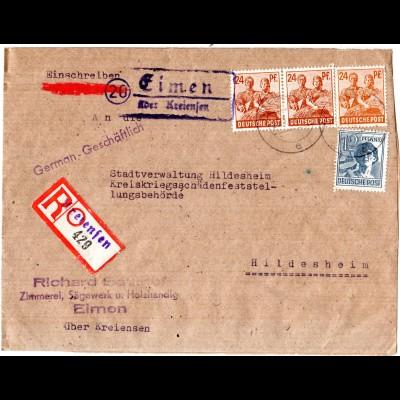 1947, Landpost Stpl. 20 EIMEN über Kreiensen auf Einschreiben Brief m. 4 Marken