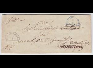 Bayern 1842, HKS Könighofen u. blau Mellrichstadt auf Nachsende Brief . #1391