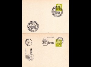 BRD 1965, 2 versch. Sonderstpl. Essen Int. Polizei Ausstellung auf 2 Karten.