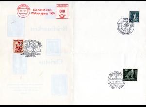 BRD/Österreich 1960, Faltblatt m. 4 Sonderstpl. zum Eucharistischen Weltkongress
