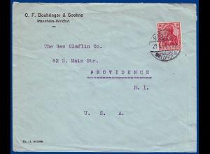 "DR 1914, EF 10 Pfg. f. Brief sog. ""direkter Weg"" v. Mannheim nach USA #S762"