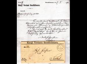 Bayern 1892, K1 BENEDIKTBEUERN auf Forstamt Vordruck Brief n. Kochel