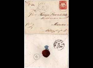 """Bayern ca. 1877, 10 Pf. WZ """"weite Welle"""" auf Adelsbrief m. K1 POSSENHOFEN"""