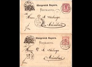 Bayern 1887, K1 ALLERSHAUSEN klar auf 2 Ganzsachen via Freising n. München