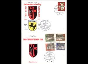 Stuttgart, 2 Ereigniskarten m. Sonderstempeln Sudetendeutscher Tag 1963 u. 1965