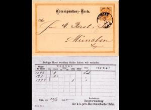 Österreich 1890, 2 Kr. Ganzsache m. rücks. Dux-Bodenbacher Eisenbahn Zudruck.