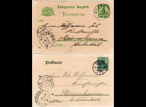 Bayern 1902, K1 MELKENDORF auf 2 Ganzsachen n. Steinenhausen b. Kulmbach