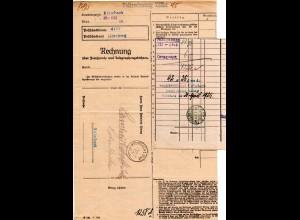 DR 1925, Rechnung Telefongebühren, Postformular m. 2 Stempeln v. Kulmbach