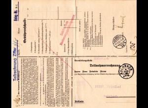 DR 1929, Postformular Telefongebühren m. 2 versch. Kulmbach Stempeln