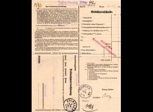 DR 1930, Postformular Telefongebühren m. 2 versch. Kulmbach Stempeln