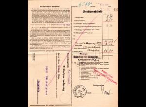 DR, Postformular Telefongebühren m. aptiertem Kulmbach A.W. Anweisungsstpl.