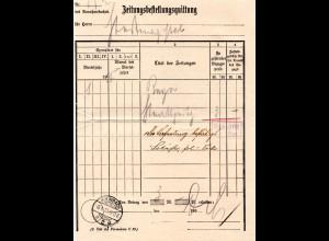 Bayern 1916, Postformular Zeitungsbestellungsquittung m. Stempel Kulmbach 2a