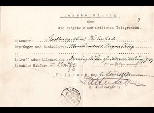 Bayern 1918, Telegramm - Postformular m. K1 Kulmbach 2b