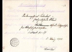 Bayern 1918, hektographiertes Telegramm - Postformular m. K1 Kulmbach 2b