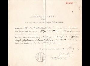 Bayern 1919, Telegramm - Postformular m. K1 Kulmbach 2b
