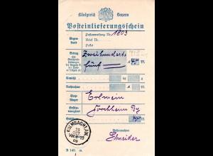 Bayern 1909, Posteinlieferungsschein m. K1 KULMBACH 1.A.W. (nicht b. Helbig).
