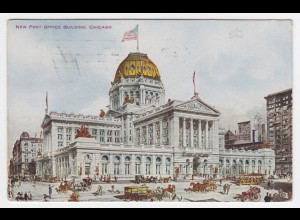 USA 1911, Chicago, New Post Office Building, gebr. Farb AK m. Pferde Tram. #1404