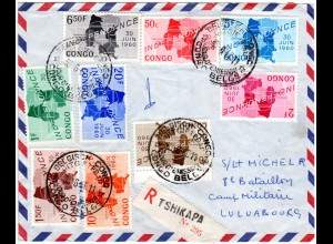 Kongo 1960, 9 Werte Unabhängigkeit auf Reko FDC v. Tshikapa m. Militäradresse.