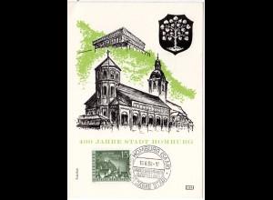 Saarland 1958, Sonderkarte 400 Jahre Stadt Homburg m. entpr. Sonderstpl.