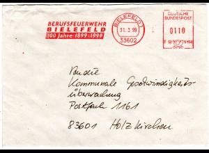 BRD 1999, Brief m. FEUERWEHR Werbefreistempel v. BIELEFELD