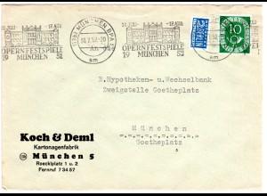 BRD 1952, OPERNFESTSPIELE MÜNCHEN, Maschinen-Sonderstpl. auf Brief m. 10 Pf.