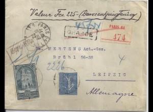 """Frankreich 1932, 1+3 Fr. auf Wert Brief v. Paris n. Leipzig. """"Gepr. Köln"""". #1954"""
