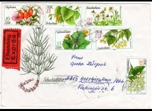 DDR 1978, Arzneipflanzen, kpl. Ausgabe auf Eilboten Brief v. Heidenau.