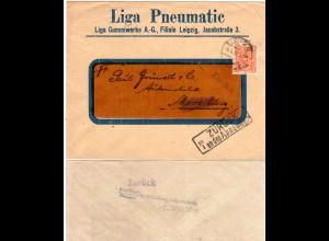 DR 1923, EF 5 Mk. auf Firmen Retour-Brief v. Leipzig m. Merseburg Zurück-Stpl.