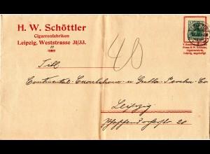 DR 1910, 5 Pf. Privatganzsache v. Leipzig m. Zudruck Schöttler Cigarrenfabrik