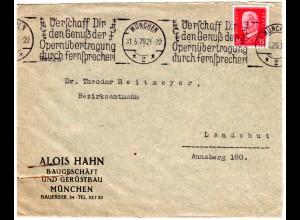 DR 1929, Werbestpl. ...Opernübertragung durch Fernsprecher! auf Brief v. München