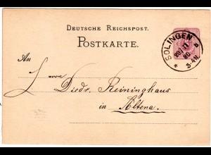 DR 1880, Klaucke Nr.136 SOLINGEN b klar auf 5 Pf. Ganzsache n. Altena