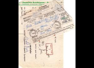 BRD 1971, Postanweisung v. Schweden m. Formular d. Telegraphenamts Hamburg