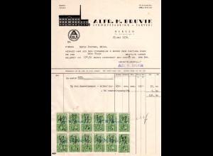 Norwegen 1936, Firmenrechnung A.M. Bruvik, Bergen m. 12 Stempelmarken