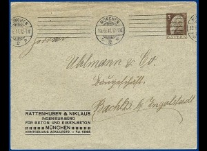 Bayern 1911, 3 Pf. Privatganzsache Brief m. Zudruck, gebr. v. München. #S276