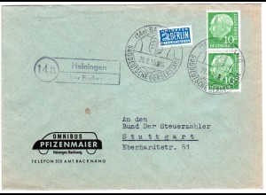 BRD 1955, Landpost Stpl. 14a HEININGEN über Backnang auf Firmenbrief m. 2x10 Pf.