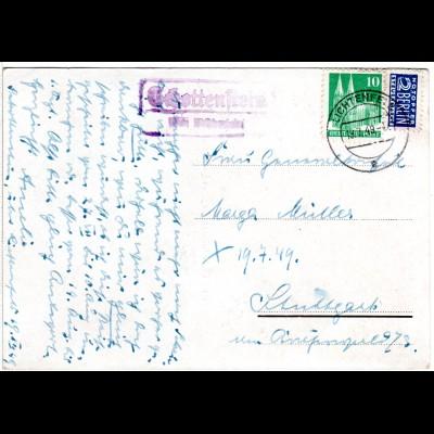 1949, Landpost Stpl. SCHOTTENSTEIN über Lichtenfels auf Karte m. 10 Pf.