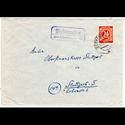 1949, Landpost Stpl. BUBENORBIS über Schwäbisch Hall auf Brief m. 24 Pf.