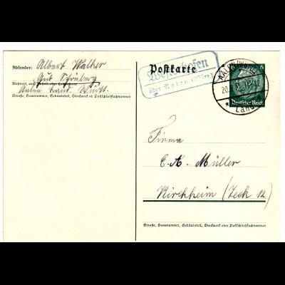 DR 1935, Landpost Stpl. WESTERHOFEN über Aalen auf 6 Pf. Ga. v. Gut Schönberg